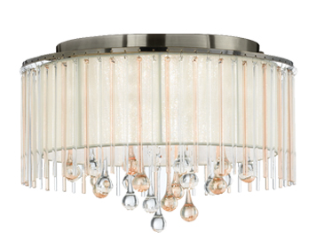 Franklite Ambience 6 Light Semi Flush Ceiling Light, Bronze Finish With Cream Shade - FL2345/6