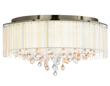 Franklite Ambience 8 Light Semi Flush Ceiling Light, Bronze Finish With Cream Shade - FL2345/8