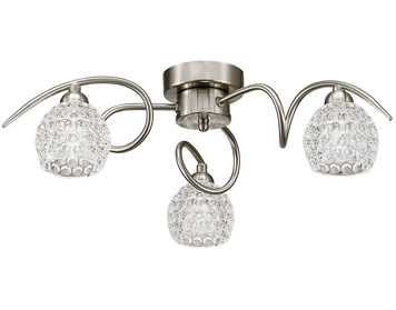 Franklite Springa 3 Light Semi Flush Ceiling Light, Satin Nickel Finish With Small Dimpled Glass - FL2347/3