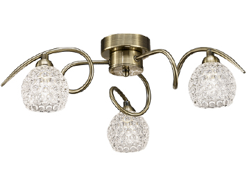 Franklite Springa 3 Light Semi Flush Ceiling Light, Bronze Finish With Small Dimpled Glass - FL2347/3
