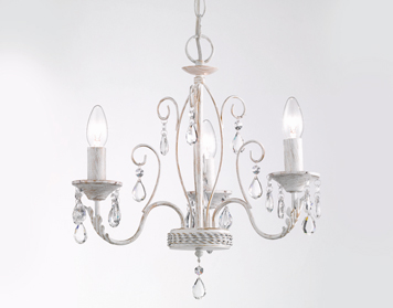 Franklite Aria 440mm 3 Light Ceiling White Ironwork Finish With Gold Highlights