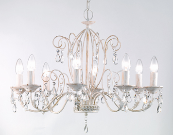 Franklite Aria (640mm) 8 Light Ceiling Light, White Ironwork Finish With Gold Highlights & Crystal Glass Drops - FL2355/8