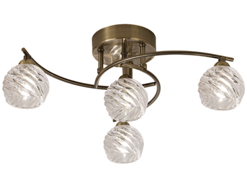 Franklite Vortex 4 Light Semi Flush Ceiling Light, Bronze Finish With Clear Swirled Crystal Glass - FL2358/4