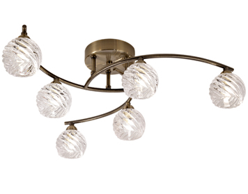 Franklite Vortex 6 Light Semi Flush Ceiling Light, Bronze Finish With Clear Swirled Crystal Glass - FL2358/6