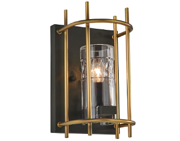 Franklite Bistro 1 Light Wall Light, Antique Finish Ironwork With Matt Gold Finish Fitting - FL2367/1