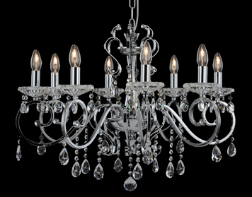 Franklite Damask 8 Light Ceiling Light, Chrome Finish With Crystal Glass Drops & Candle Pans - FL2372-8