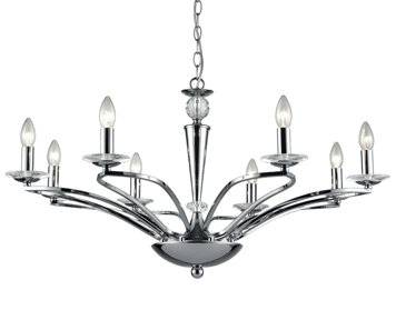 Franklite Elena 8 Light Ceiling Light, Chrome Finish With Crystal Glass Candle Pans - FL2374-8
