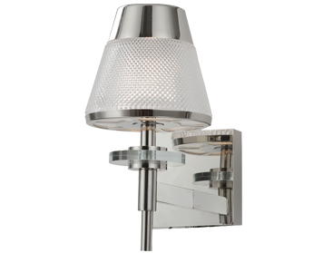 Franklite Concept 1 Light Wall Light, Chrome Finish With Clear Textured Glass - FL2379-1