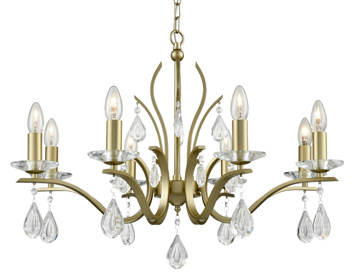 Franklite Willow 8 Light Ceiling Light, Matt Gold Finish With Crystal Glass Drops - FL2384-8