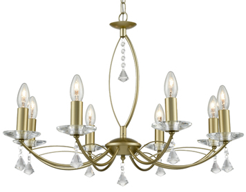 Franklite Monaco 8 Light Ceiling Light, Matt Gold Finish With Crystal Glass Sconces & Faceted Drops - FL2385-8