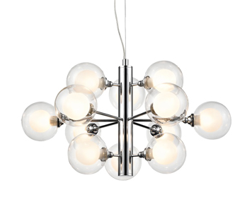 Franklite Bubble 12 Light Ceiling Light, Chrome Finish With Glass Spheres - FL2400-12