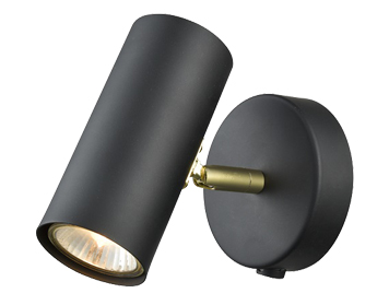 Franklite Aspect 1 Light Wall Light, Black & Gold Finish - FL2402-1