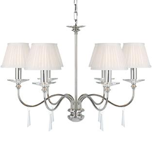 Elstead Finsbury Park Polished Nickel 6 Light Crystal Ceiling Chandelier - FP6POLNICKEL