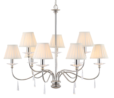 Elstead Finsbury Park Polished Nickel 9 Light Ceiling Chandelier - FP9POLNICKEL