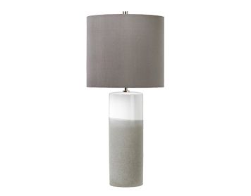 Elstead Fulwell 1 Light Table Lamp, White Gloss & Matte Grey Ceramic Finish With Dark Grey Shade - FULWELL/TL