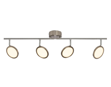 Endon Pluto LED 4 Light Bar Spot Light, Satin Nickel Finish With Opal Plastic Diffuser - G3053213