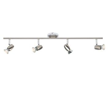 Endon Palermo 4 Light Bar Spotlight, Brushed Chrome & Chrome Plate Finish - G5503177