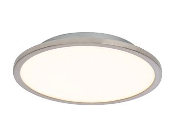 Endon Ceres 10W LED Round Medium Flush Fitting Ceiling Light, Satin Nickel & Opal Plastic Finish - SALE-G9446013