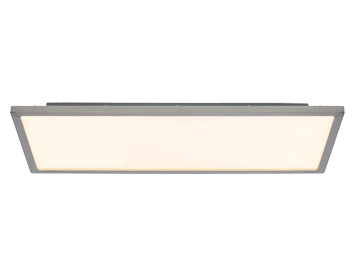 Endon Ceres 20W LED Rectangle Flush Fitting Ceiling Light, Satin Nickel & Opal Plastic Finish - G9446413