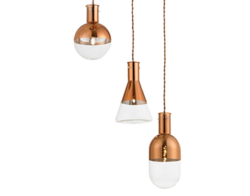 Endon Giamatti 6 Light Spiral Ceiling Pendant, Copper Finish With Clear Electroplated Glass - GIAMATTI-6CO