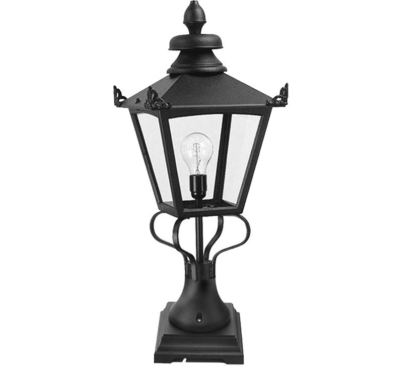 Elstead York Pedestal Lantern Light Black: Elstead Grampian Victorian Pedestal Lantern, Black