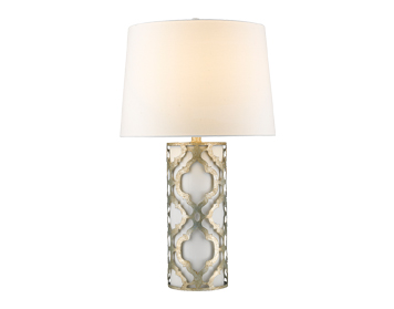 Elstead Gilded Nola Arabella Table Lamp, Distressed Silver Finish With Linen Shade - GN/ARABELLA/TL/S