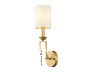 Elstead Gilded Nola Lemuria 1 Light Wall Light, Distressed Gold Finish With Linen Shade - GN/LEMURIA1