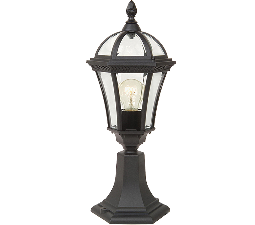 Elstead York Pedestal Lantern Light Black: Elstead Garden Zone Ledbury 1 Light Pedestal Lantern