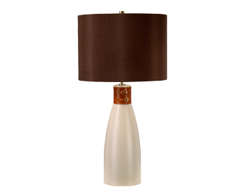 Elstead Hammersmith 1 Light Table Lamp, Tape Ceramic Finish With Brown Shade - HAMMERSMITH/TL