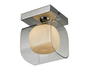 Azzardo Happy 1 Light Flush Ceiling/Wall Light, Opal Glass & Chrome Finish - AZ0483