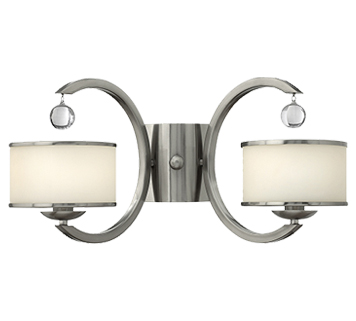 Elstead Hinkley Monaco 2 Light Wall Light With Etched Opal Glass Shade, Brushed Nickel - HK/MONACO2