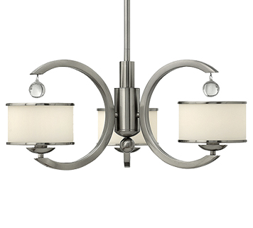 Elstead Hinkley Monaco 3 Light Ceiling Light With Etched Opal Glass Shade, Brushed Nickel - HK/MONACO3