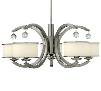 Elstead Hinkley Monaco 5 Light Ceiling Light With Etched Opal Glass Shade, Brushed Nickel - HK/MONACO5