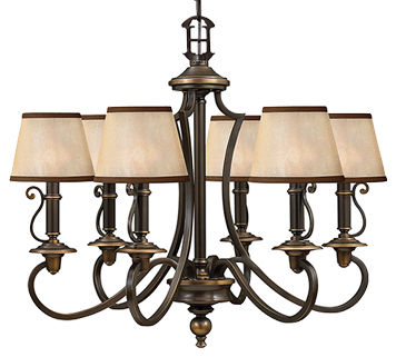 Elstead Hinkley Plymouth 6 Light Ceiling Light, Old Bronze - HK/PLYMOUTH6