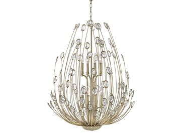 Elstead Hinkley Tulah 8 Light Two Tier Chandelier, Silver Leaf Finish - HK/TULAH8