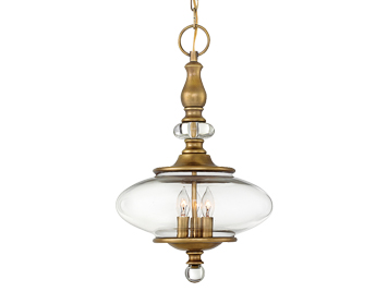 Elstead Hinkley Wexley 3 Light Ceiling Pendant, Heritage Brass Finish - HK/WEXLEY/3P HB