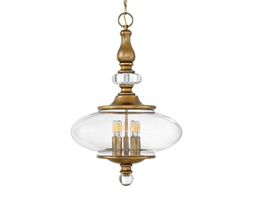 Elstead Hinkley Wexley 5 Light Ceiling Pendant, Heritage Brass Finish - HK/WEXLEY/5P HB