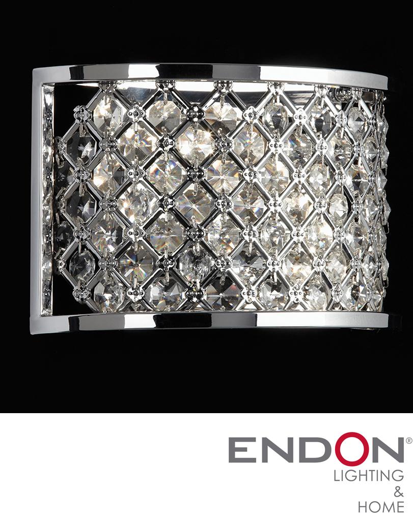 Endon Tiffany Wall Lights : ENDON HUDSON CHROME CRYSTAL WALL LIGHT - HUDSON-2WBCH from Easy Lighting