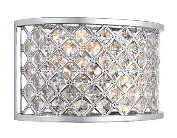 Endon Hudson 2 Light Wall Light, Chrome Plate Finish With Clear Crystal Glass - HUDSON-2WBCH