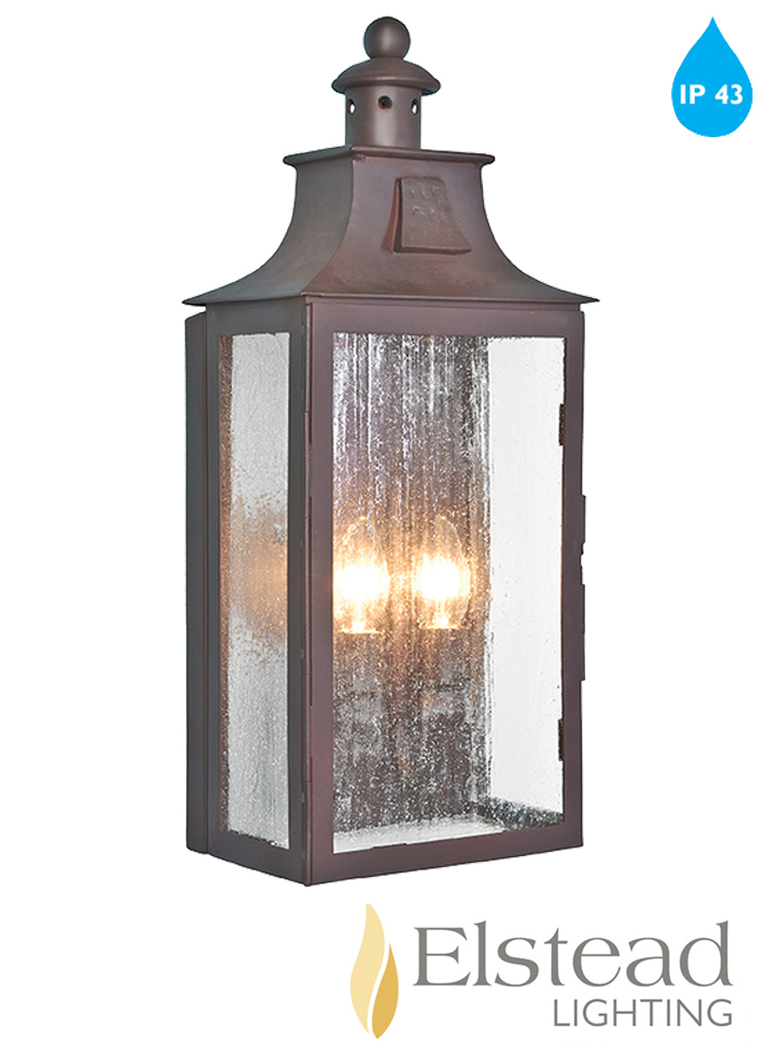 Elstead Kendal Ip43 Wrought Iron 2 Light Outside Wall