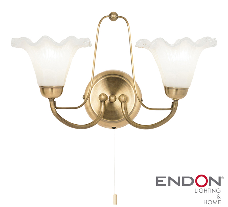 ENDON KENNEDY TWIN WALL LIGHT, ANTIQUE BRASS - KENNEDY-2WBAB *DISCONTINUED* from Easy Lighting