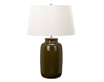 Elstead Kingston Vale 1 Light Table Lamp, Olive Green Glazed Ceramic Finish With Ivory Shade - KINGSTON VALE/TL