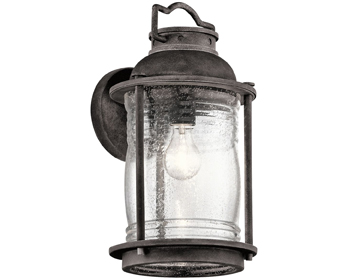 Elstead Kichler Ashlandbay 1 Light Large Outdoor Wall Lantern, Weathered Zinc Finish - KL/ASHLANDBAY2/L