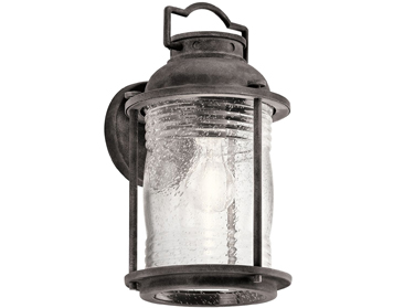 Elstead Kichler Ashlandbay 1 Light Medium Outdoor Wall Lantern, Weathered Zinc Finish - KL/ASHLANDBAY2/M