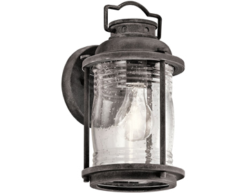 Elstead Kichler Ashlandbay 1 Light Small Outdoor Wall Lantern, Weathered Zinc Finish - KL/ASHLANDBAY2/S