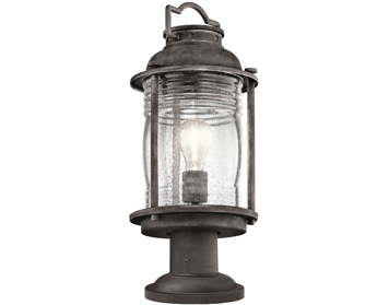 Elstead Kichler Ashlandbay 1 Light Medium Outdoor Pedestal Lantern, Weathered Zinc Finish - KL/ASHLANDBAY3/M
