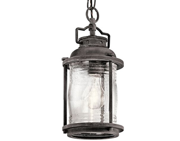 Elstead Kichler Ashlandbay Small 1 Light Outdoor Chain Lantern, Weathered Zinc Finish - KL/ASHLANDBAY8/S