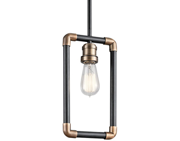 Elstead Kichler Imahn 1 Light Mini Pendant, Black & Natural Brass Finish - KL/IMAHN/MP