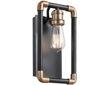 Elstead Kichler Imahn 1 Light Wall Light, Black & Natural Brass Finish - KL/IMAHN1