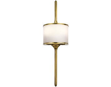 Elstead Hinkley Mona Small 2 Light Wall Light, Natural Brass Finish - KL/MONA/S NBR
